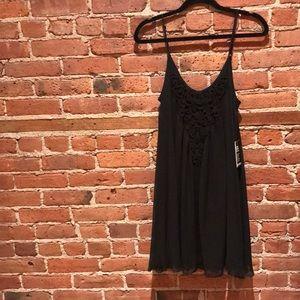 Express Black Crochet Detail Swing Dress